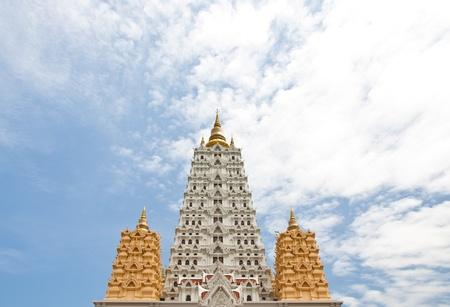 White buddhagaya pagoda in public temple Wat Yansangwararam Pattaya, Thailand photo
