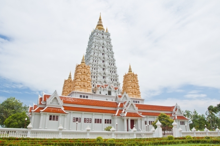 White buddhagaya pagoda in public temple,Wat Yansangwararam, Pattaya, Thailand