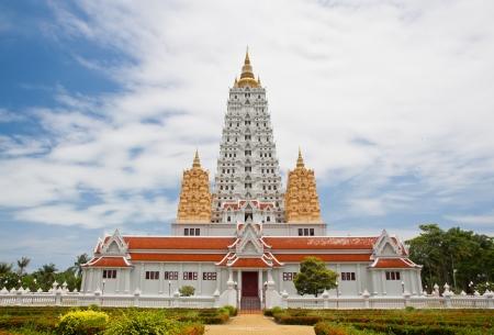 White buddhagaya pagoda in public temple Wat Yansangwararam, Pattaya, Thailand photo