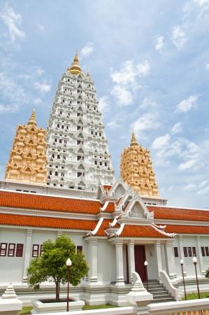 White buddhagaya pagoda in public temple ,Wat Yansangwararam, Pattaya, Thailand photo