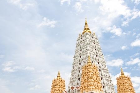 White buddhagaya pagoda in public temple,Wat Yansangwararam, Pattaya, Thailand photo