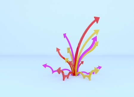 dimentional: Colorful bomb of arrow by three dimentional software