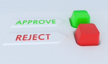 reject: Red and green Approve Reject button switch