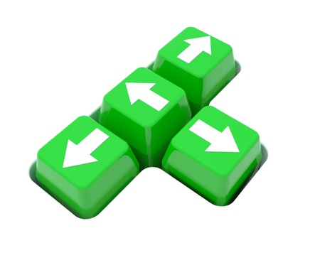 Arrow in green button on white background Stock Photo - 14183021