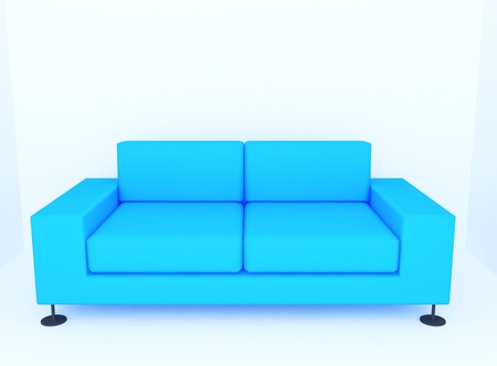 dimentional: Sofa in empty room to created by three dimentional software  Stock Photo