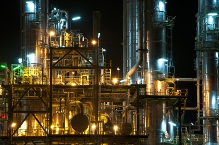 Night scene of chemical plant , Maptaphut industrial, Eastern of Thailand  photo