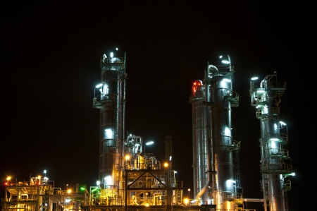 Night scene of chemical plant ,Maptaphut industrial , Eastern of Thailand  photo