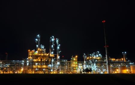 Night scene of chemical plant , Maptaphut industrial, Eastern of Thailand