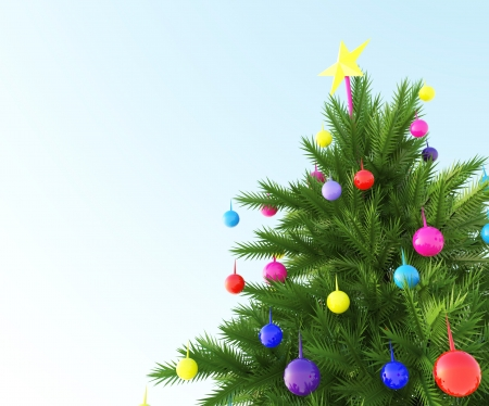 The Christmas tree with colored sphere ball photo