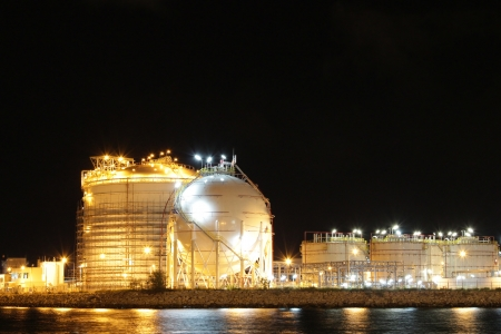 Chemical industrial in the night with beautiful lighting, Maptaphut industrial , Thailand Stock Photo - 15306914