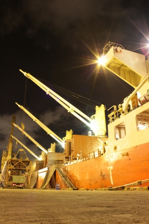 Cargo jetty on the night with green lighting  photo