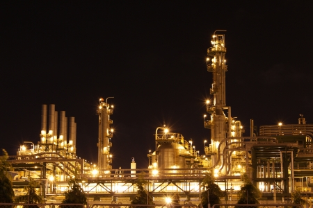 Chemical industrial in the night with beautiful lighting, Maptaphut industrial , Thailand Stock Photo - 15306726