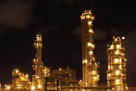 Chemical industrial in the night with beautiful lighting, Maptaphut industrial , Thailand Stock Photo - 15306903