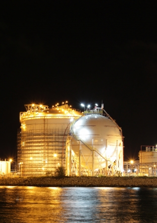 Chemical industrial in the night with beautiful lighting, Maptaphut industrial , Thailand photo