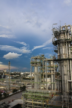 Chemical distillation in chemical plant , Eastern of Thailand photo