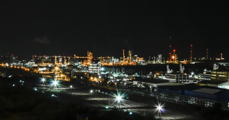 Night scene of chemical plant ,  Maptaphut industrial  , Eastern of Thailand