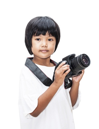 Children with digital camera in white background , Asian children of Thailand photo