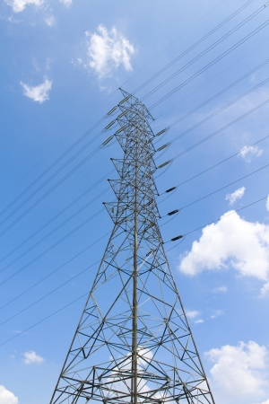 High power of electrical post transmission line  - Maptaphut industrial , Eastern of Thailand Stock Photo - 15928287