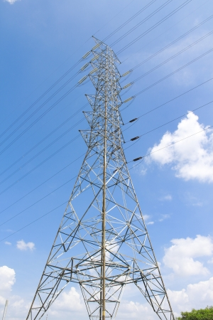 High power of electrical post transmission line  - Maptaphut industrial , Eastern of Thailand  photo