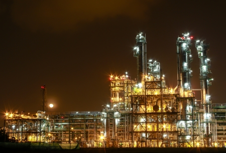 steam turbine: Night scene of chemical plant , Eastern of Thailand
