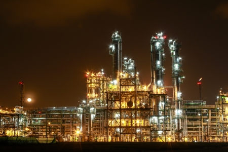 electricity generator: Night scene of chemical plant , Eastern of Thailand