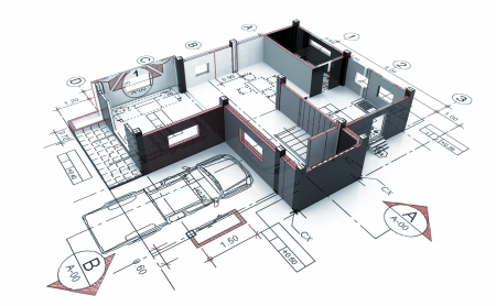 3D Home plot plan with white back ground 스톡 콘텐츠