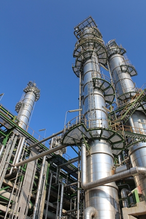 chemical engineering: Petroleum and chemical plant with blue sky