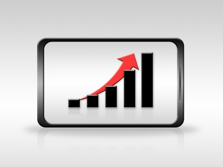 Growing chart in Mobile phone Stock Photo - 17457262