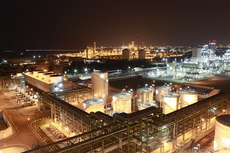 Night scene of petrochemical factory