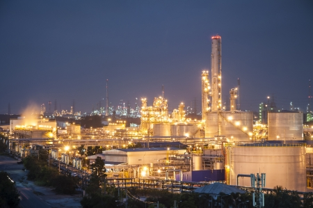 Night scene of chemical plant , Eastern of Thailand photo