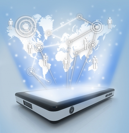 Communication technology with mobile phone to Making the world smaller Stock Photo - 18968189