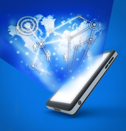 Communication technology with mobile phone to Making the world smaller Stock Photo - 18968187