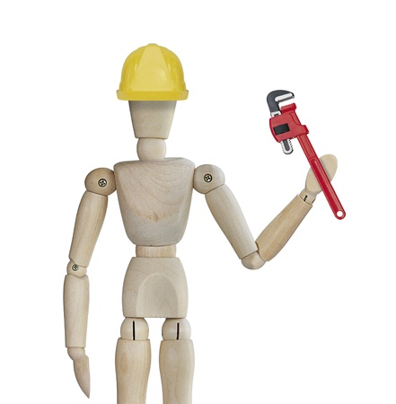 Maintenance service with wooden man