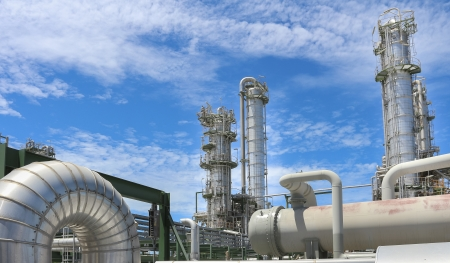 to plant structure: Chemical plant structure with blue sky in sunny day