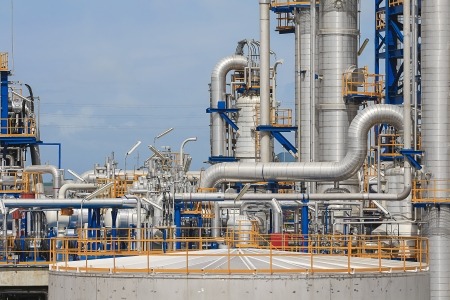 Steel structure of petrol and chemical plant in day time