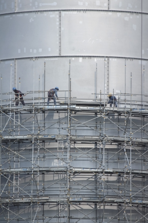 Scaffolding structure of tank storage  in industrial factory  Stock Photo
