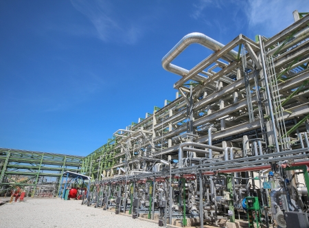 Chemical pipeline on big structure in industrial plant