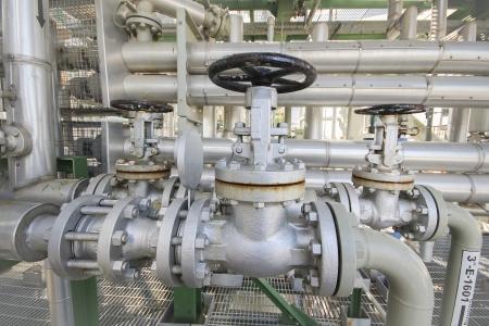 Manual valve with pipe line in industrial plant Zdjęcie Seryjne