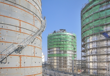 Chemical tank Storage in industrial construction yard
