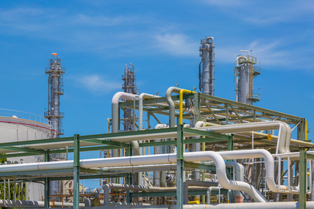 gas plant: Structure of Refinery industrial plant in sunny day