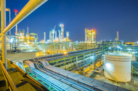 Beautiful refinery plant on evening twilight time Stock Photo