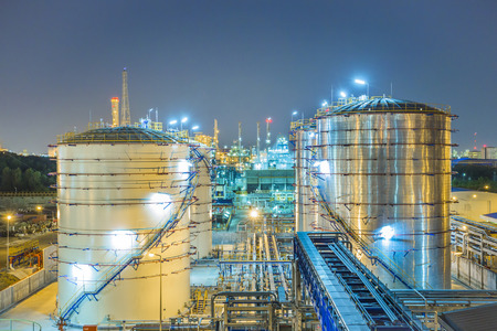 steel plant: Beautiful refinery plant on evening twilight time Stock Photo