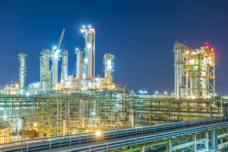 Beautiful refinery plant on evening twilight time Imagens