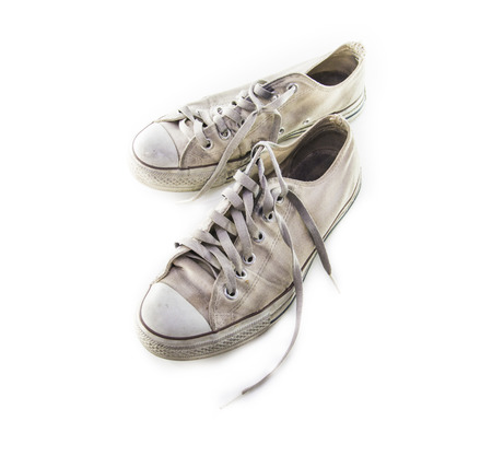 old shoes: Old shoes on white background