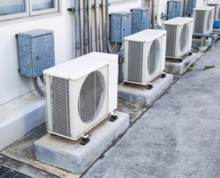 cold air: Air Conditioner unit outdoor place Stock Photo