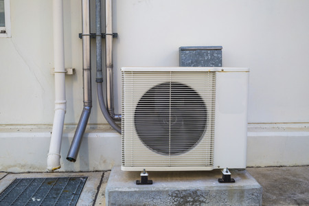 the place is outdoor: Air Conditioner unit outdoor place Stock Photo
