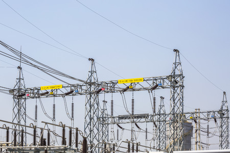watts: Power electrical substation yard in industrial factory , Rayong Thailand Stock Photo