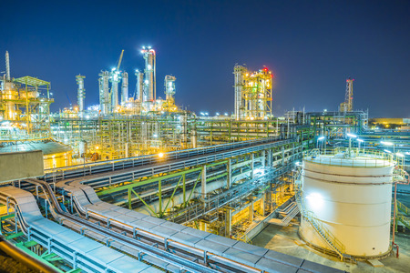 Beautiful refinery plant on evening twilight time Фото со стока