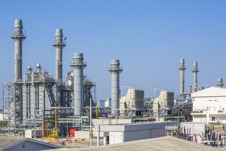 plant: Gas turbine power plant with blue sky , Eastern of Thailand
