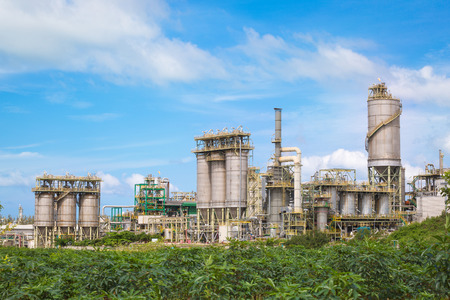 Chemical refinery industrial plant with blue sky , Eastern industrial of Thailand Stock Photo